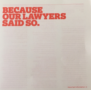 because our lawyers said so